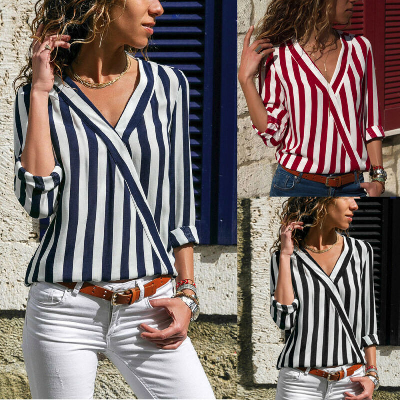 Women Summer Striped Long Sleeve Button V Neck T Shirt Ladies Casual Blouse Tops