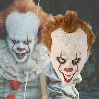 Halloween Cosplay Scary Mask Costume Movie Stephen King's IT Clown Pennywise COS - Halloween Movie Clown Costume