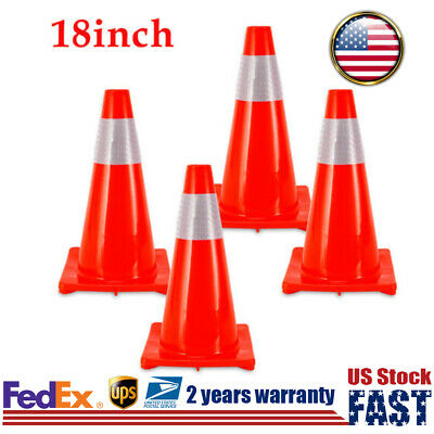 4 Road Traffic Cone 18 Safety Parking Cones Fluorescent Reflective Strip Post