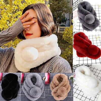 US Women Real Rex Rabbit Fur Scarf Wrap Collar Neck Warm Warm Infinity Muffler Genuine Rabbit Fur