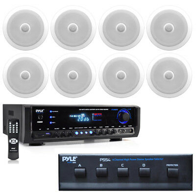 """8"""" 2-Way In-Ceiling 300W Speakers & Selector, Pyle 300W Bluetooth Home Receiver"""