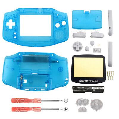 Color Full Housing (Full Housing Shell + Screen Len for Nintendo Gameboy Advance GBA Neon Blue Color )