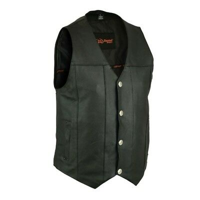 MENS BIKER MC CLUB FULLY LINED LEATHER VEST w/ TWO CONCEAL CARRY POCKETS - UMA9