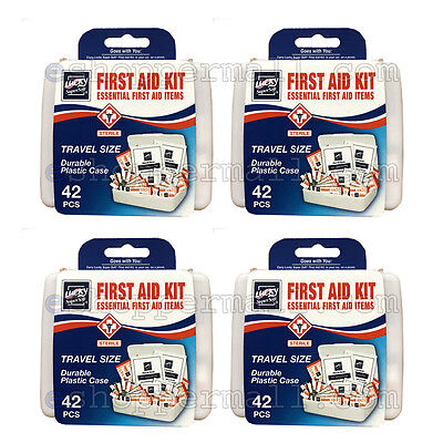 - 4 Pack 42 PC Essential First Aid Kit Emergency Bag Home Car Office Travel Size