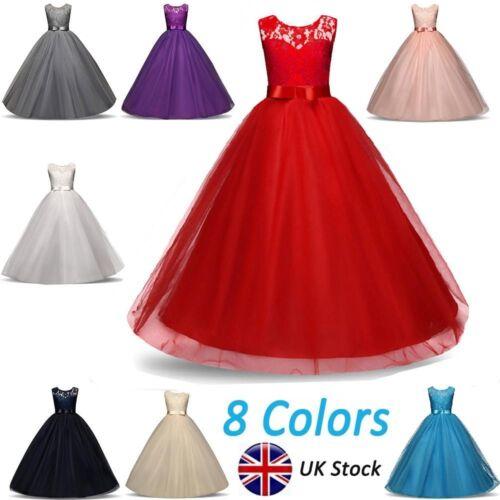 Kids Girls Lace Flower Bridesmaid Maxi Long Dress Party Princess Prom Wedding`