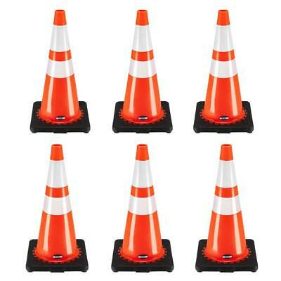 28 Inch Safety Traffic Cones Fluorescent Orange Reflective Collar 6 Pcsset