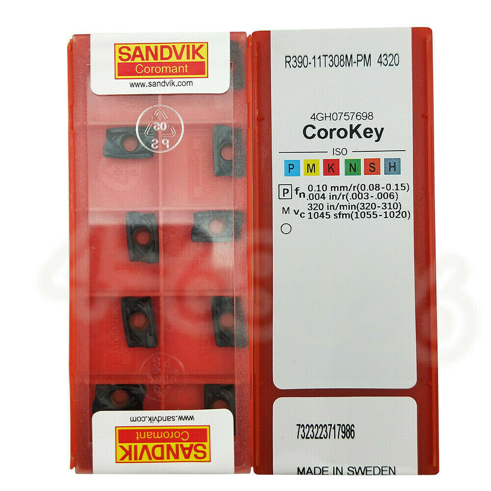 0.03 mm Corner Radius Sandvik Coromant R390-11 T3 08M-KL 3330 Carbide Milling Insert Pack of 10 Positive Chip Breaker
