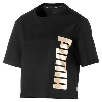 Puma Holiday Pack Womens Ladies Causal T-Shirt Top Tee Black/Gold