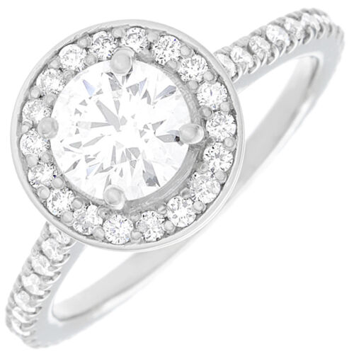 2.30 CT Round Brilliant Cut Diamond Engagement Ring GIA Certified 18k White Gold