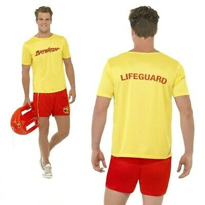 80s 90s Mens Baywatch Beach Licensed Official Fancy Dress Costume Stag (80 Beach Party Kostüme)
