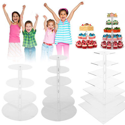 Tree Cupcake Stand (Cupcake Stand Holder Cake Tower Tree Acrylic Square Clear Dessert Display)