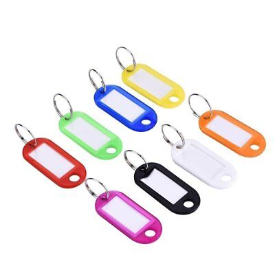 Plastic Keychains (20x Coloured Plastic Key Tags Assorted Key Ring Luggage  ID Name Label Fob)