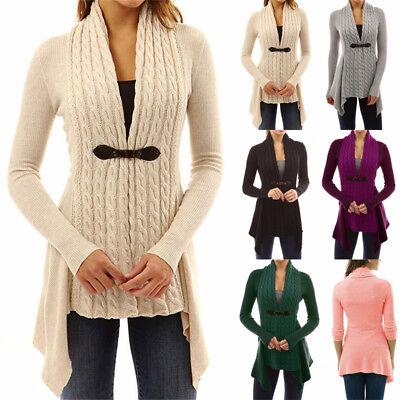 UK Womens Long Sleeve Knitted Sweater Jumper Ladies Knitwear Tops Cardigan Coat