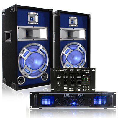 """Bedroom DJ 10"""" Disco Party Speakers with Lights + Mixer and Amplifier 400W"""