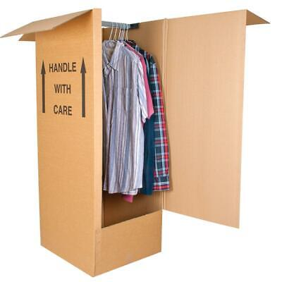 1 LARGE STRONG REMOVAL MOVING WARDROBE CARDBOARD BOXES WITH HANGING RAIL