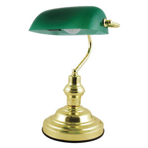 CLASSIC RETRO STYLE ADVOCATE BANKERS DESK LAMP TABLE LIGHT POLISHED BRASS FINISH