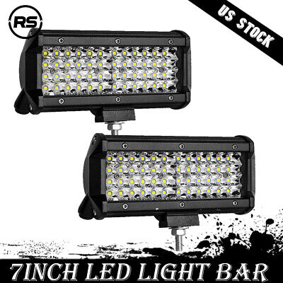 2x7inch 144w Led Light Bar Work Offroad Lamp Tractor Boat Ute Spotlights Driving