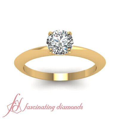Yellow Gold Knife Edge Solitaire Engagement Ring With 3/4 Carat Round Diamond 1