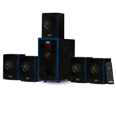 Acoustic Audio 5.1 Bluetooth 6 Speaker System Home Theater Surround Sound NEW