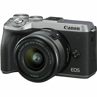 New Canon EOS M6 Mark II Digital Camera w/ 15-45mm f/3.5-6.3 IS STM Lens Silver