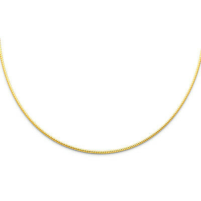 Solid Real 14k Yellow / White Gold 1.5MM Sparkle Omega Necklace Chain 17