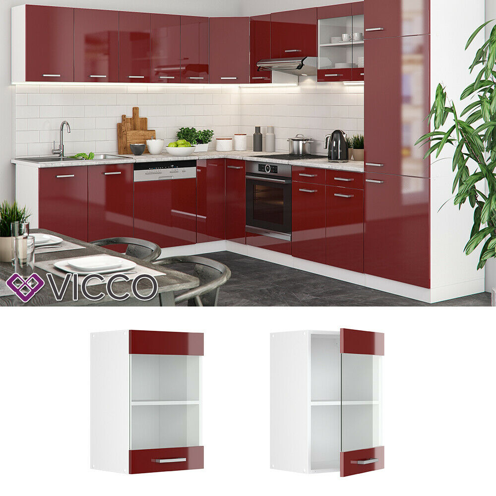 VICCO Küchenschrank Hängeschrank Unterschrank Küchenzeile R-Line Hängeglasschrank 40 cm rot