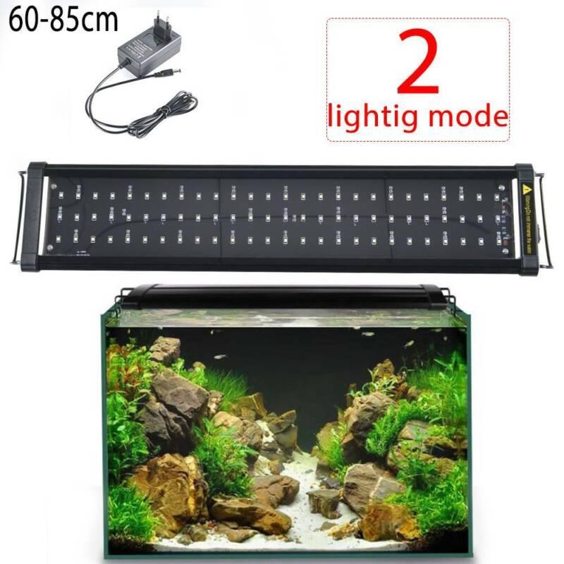 LED Aquarium Beleuchtung 60-85cm Aufsetzleuchte Lampe Aufsetzleuchte Weiß+Blau