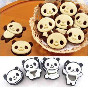 4pcs Cartoon Panda Cookie Cutter Biscuit Mould Tools Cake DIY Baking Bakeware