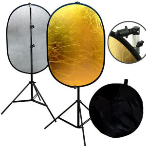 Photography Light Mulit Collapsible Portable Gold/Silver Photo Reflector Stand K