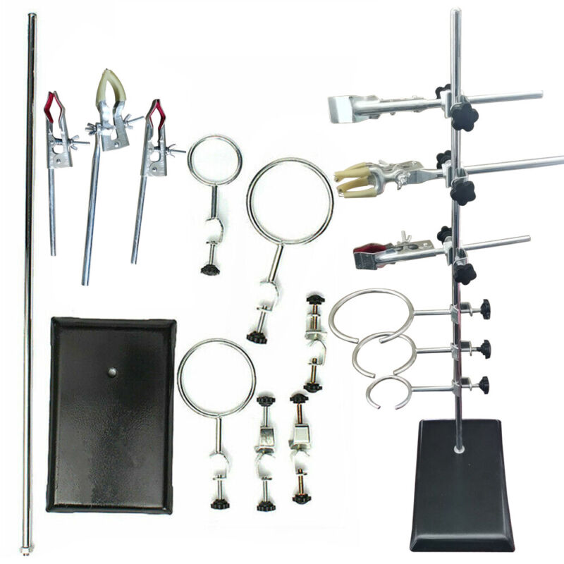 Holding Flask Condenser Pipe Silver+Black  Laboratory Support+9xLaboratory Clips