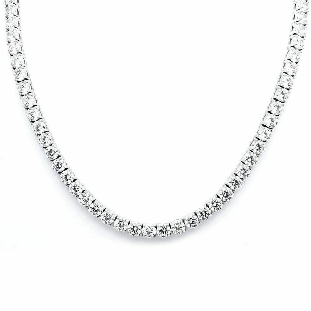 24Ct Round Cut Diamond Women's Tennis Necklace 925 Solid Sterling Silver 3mm 18 5