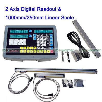 2 Achsen CNC LCD Digitalanzeige Linear Scale 9x42 DRO Kits Mühle Drehmaschine