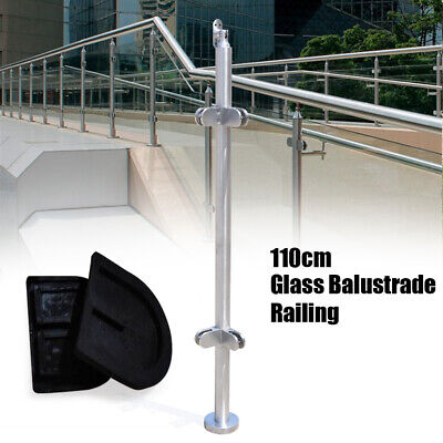 110cm Stainless Steel Balustrade Railing Corner Posts 8~12mm Glass Clamps