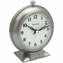 Westclox Battery Analog Alarm Clock with Metal Case Glass Lens Loud Alarm
