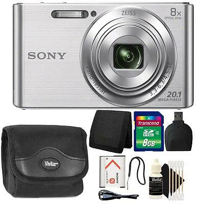 Sony DSC-W830 20.1MP Point and Shoot Digital Camera Silver + 8GB Accessory Kit
