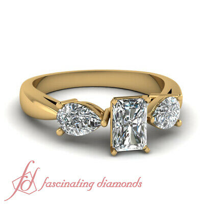 1.4 Ct Radiant Cut Yellow Gold 3 Stone Diamond Engagement Rings GIA Ring Sz 5-10