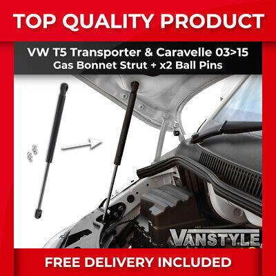 VW T5 TRANSPORTER CARAVELLE 03>15 T5.1 GP BONNET LIFTER GAS STRUT + x2 BALL PINS