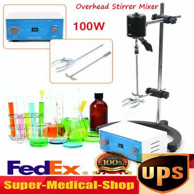 100w Electric Overhead Stirrer Mixer Drum Mix Biochemical Lab Tool Adjustable Us