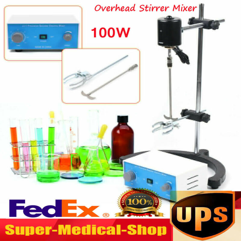 100W Electric Overhead Stirrer Mixer Drum Mix Biochemical Lab Tool Adjustable US