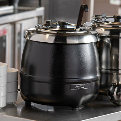 11 Qt. Black Electric Countertop Commercial Soup Kettle Warmer - 120 Volt
