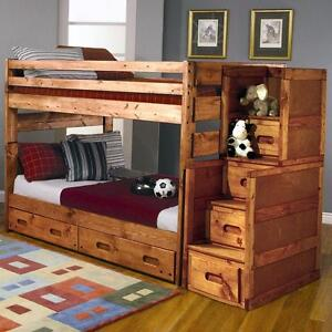FREE Delivery in Calgary! Solid Pine Full Over Full Bunk Bed!