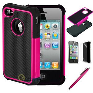 Hybrid Rugged Impact Rubber Matte Hard Case Cover for iPhone 4G 4S /Screen Guard
