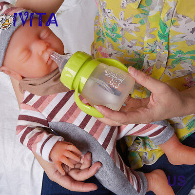 IVITA 18 inch Eyes-closed Baby Doll Girl Full Body Soft Silicone Lifelike Reborn