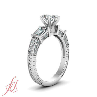 1.85 Ct Pear Shaped Diamond Engraved Engagement Ring Pave Set In White Gold GIA 2