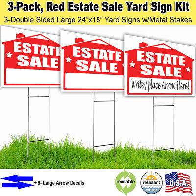 3 Pack Estate Sale Lawn Sign Kit