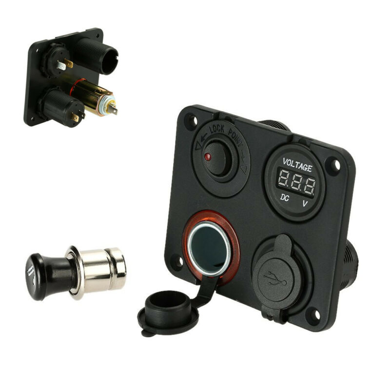 12V Car Van Dual USB Socket Digital Voltmeter ON-OFF Button Switch 4 Hole Panel