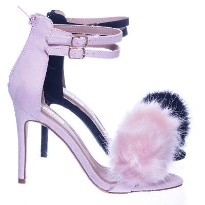 Catrina4 Double Strap High Heel Faux Fur Pompom, Women Open Toe Dress Sandal (Catrina Dress)