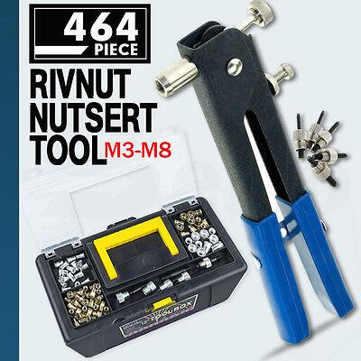 464 Pieces M3 M4 M5 M6 M8 Blind Rivet Nut Rivnut Nutsert Insert Tool Box Set Kit