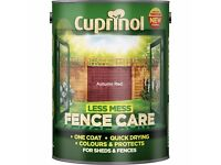 Cuprinol Less Mess Shed Fence Paint / Stain in Autumn Red 4 x 5L (so 20 litre total)