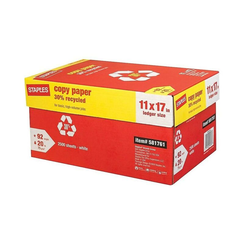 """Staples 30% Recycled 11"""" x 17"""" Copy Paper 20 lbs 92 Brightness 500/RM 5 RM/CT"""